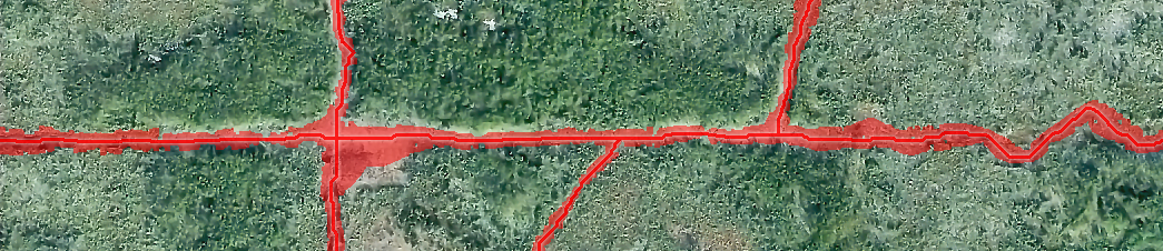 Automatically extracted forest line center and footprint overlaying aerial photo.